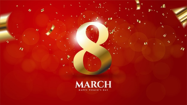 Women's day background with illustration number 8 colored gold on a red