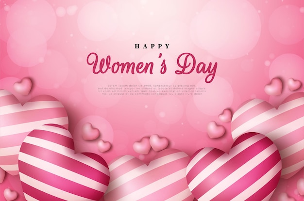 Women's day background with love balloons and scattered gradient circles.