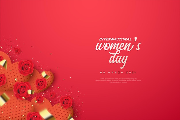 Women's day background with a love gift box.