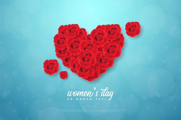 Women's day background with red roses to form love.