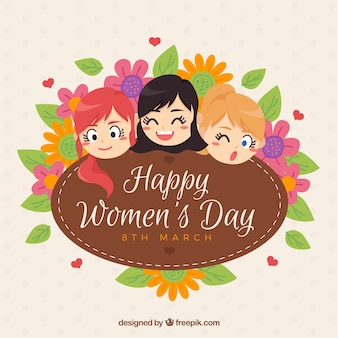 Women's day background with smiling girls and floral decoration