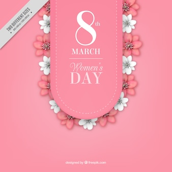 Women's day background with white and pink flowers