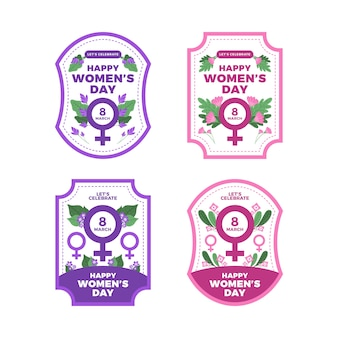 Women's day badge collection with flowers