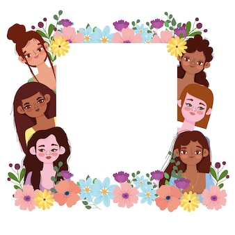 Women's day banner with flowers and blank banner
