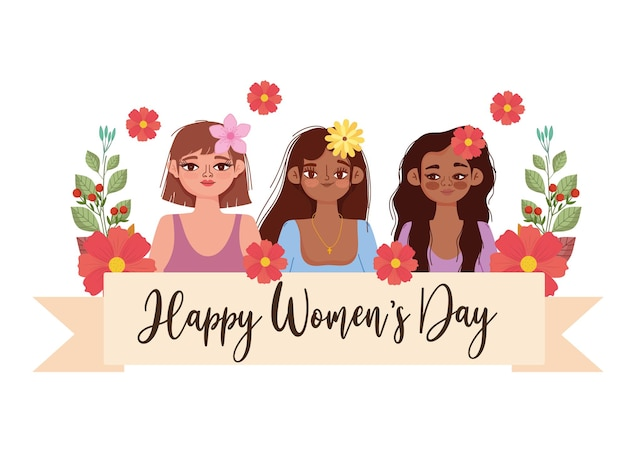 Women's day banner with flowers