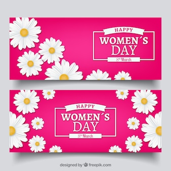 Women's day banners with daisies