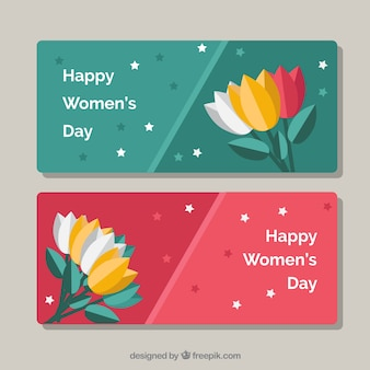 Delle donne bandiere di giorno con fiori piatte