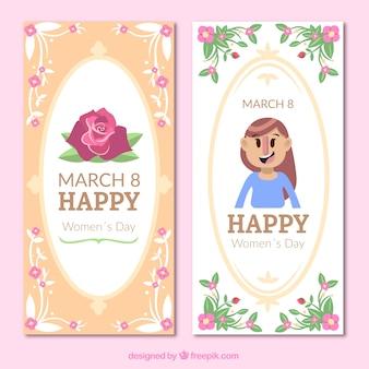 Bandiere di giorno delle donne con decorazione floreale
