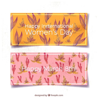 Delle donne bandiere di giorno con i fiori ad acquerello