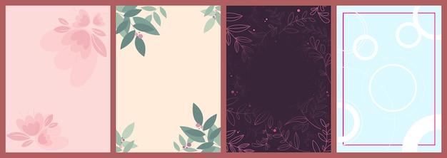 Пустые карточки женского дня. красивые праздничные шаблоны в вертикальной ориентации.