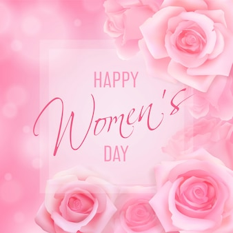 Women's day card with pink roses top view on a pink background