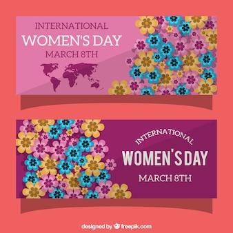 Giorno striscioni colorati fiori delle donne