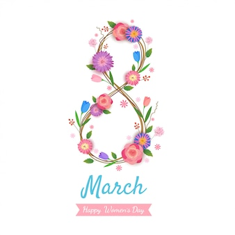Women's day design number 8 to wreath flowers on white .
