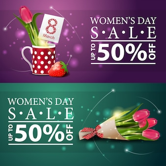 Women's day discount banners with bouquet of tulips