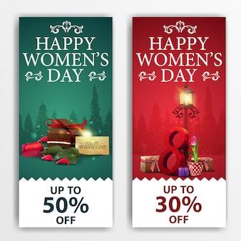 Женские дневные скидки на баннеры с конфетами, розами и тюльпанами
