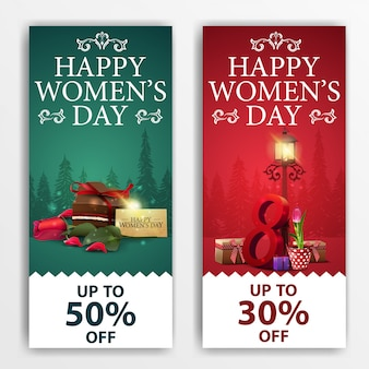 Women's day discount banners with candy, rose and tulip