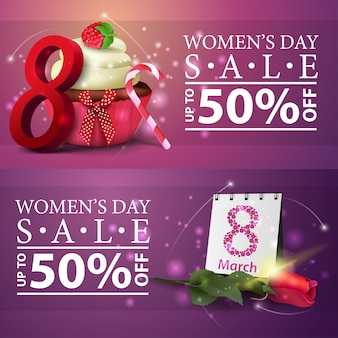 Women's day discount banners with cupcake