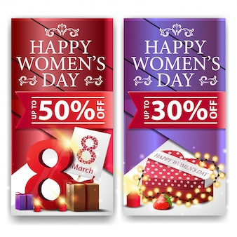 Women's day discount banners with gifts