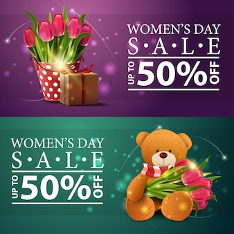 Women's day discount banners with tulips and teddy bear