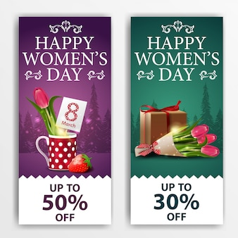Women's day discount banners