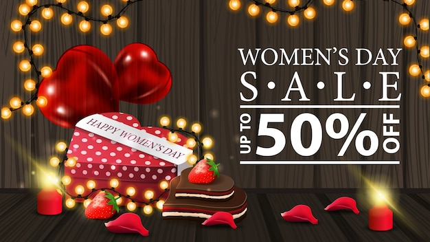 Women's day discount horizontal modern banner