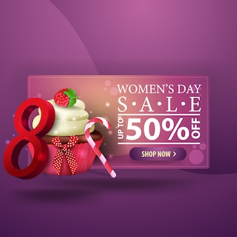 Women's day discount modern purple banner with cupcake