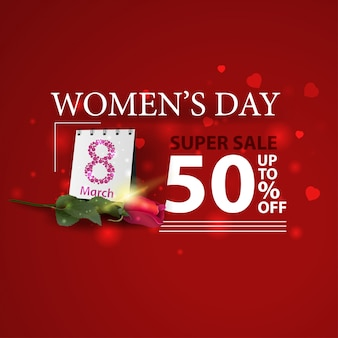 Женский день скидка современное красное знамя с розой
