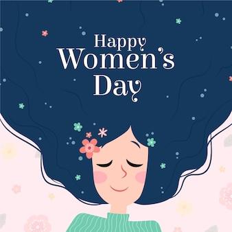 彼女の髪に花を持つ女性の日の女性キャラクター