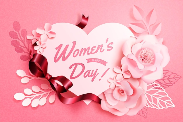 Women's day floral decorations with heart shape notes in paper art style, 3d illustration greeting card in pink tone