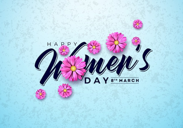 Women's day floral greeting card illustration with flower