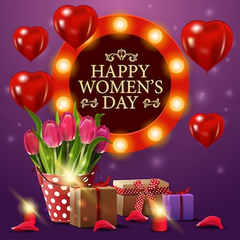 Women's day greeting purple card template