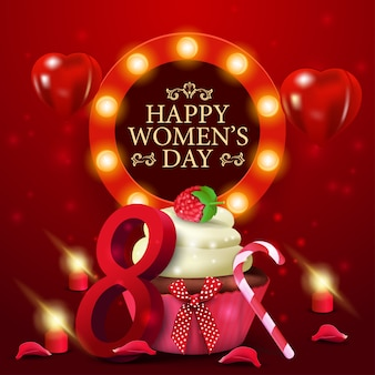 Women's day greeting red card template