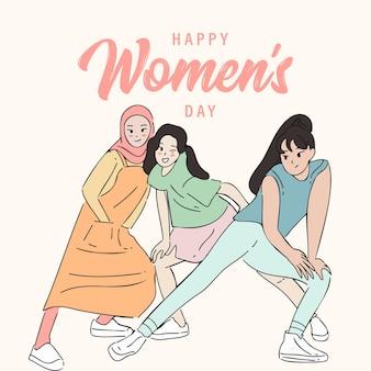 함께 포즈를 취하는 여자의 그룹과 여성의 날 그림