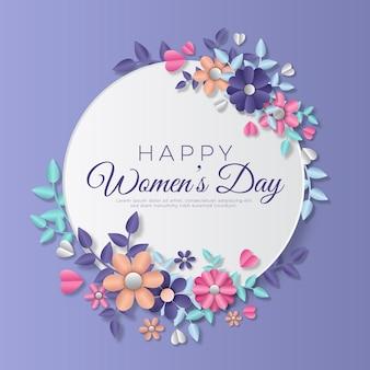 Женский день в бумажном стиле с цветами