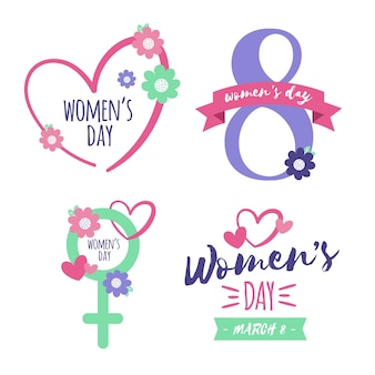 Women's day label/badge collection with flowers
