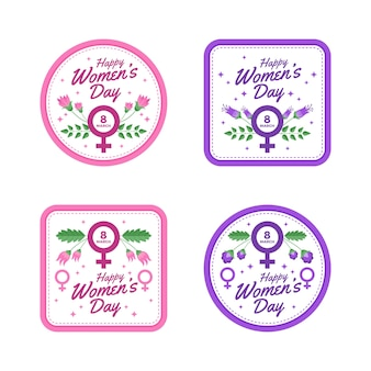 Women's day label collection with flowers