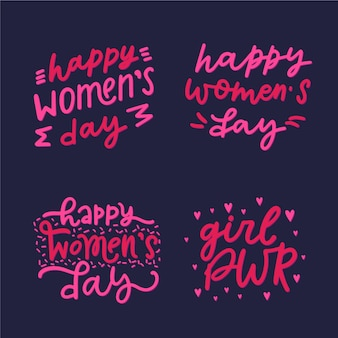 Women's day label collection with lettering