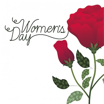 Women's day label with roses isolated icon