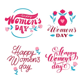 Women's day lettering label collection