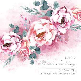 Women's day lettering with beautiful watercolor roses