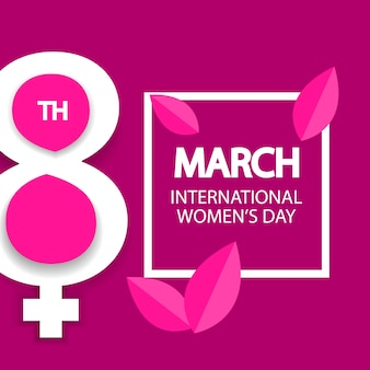 Women's day march 8 celebration sign on pink background