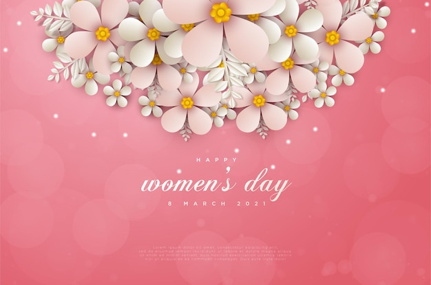 Женский день 8 марта открытка с цветами, украшающими верхнюю часть карты.