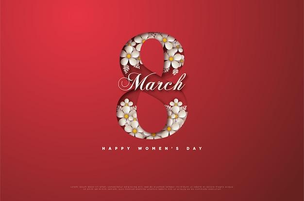 Женский день 8 марта. открытка с штриховой графикой, частично покрытой цветами.