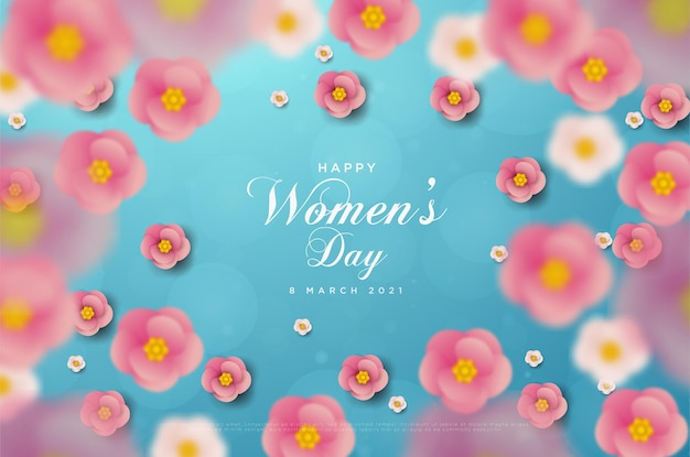 여성의 날 3 월 8 일 숫자 카드와 분홍색 꽃이있는 파란색 종이를 사용한 카드.
