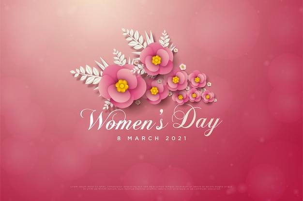 Женский день 8 марта карта с розовыми цветами и белыми листьями.