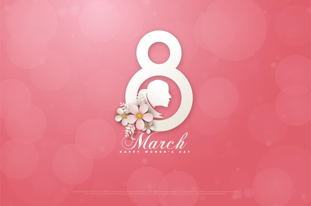 Women's day march 8th card with a simulated image of a woman in the middle of a number on a pink card ..