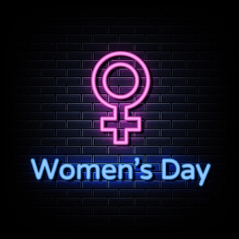 Women's day neon signs style