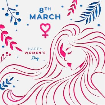 Festa della donna in stile carta sullo sfondo