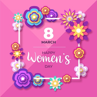 Women's day in paper style design