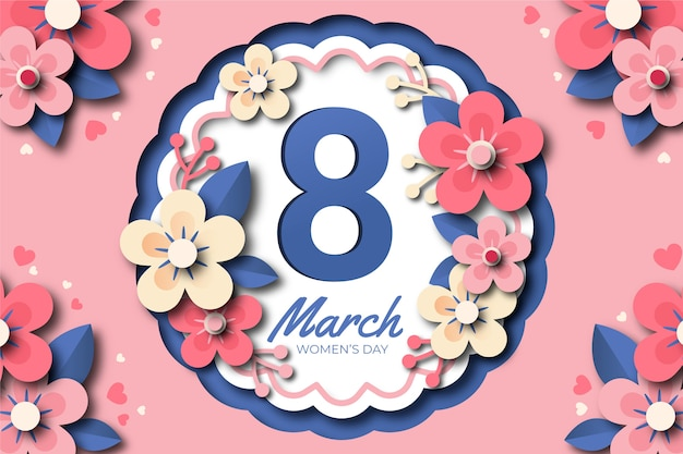Women's day in paper style with blossom
